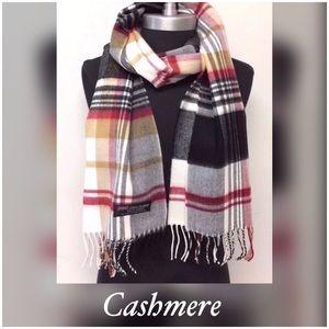100% Soft Cashmere Plaid Fringe Scarf Wrap